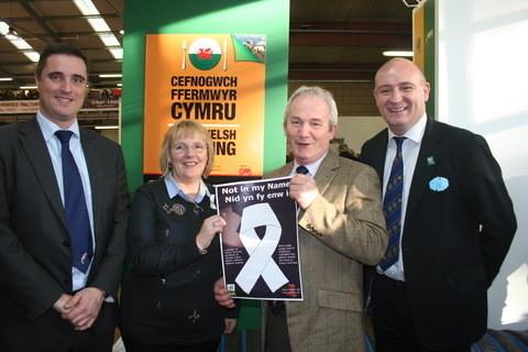 John Mercer, NFU Cymru Director, Ann Jones NFWI-Wales Chair, Stephen James, NFU Cymru President and John Davies, NFU Cymru Deputy President.