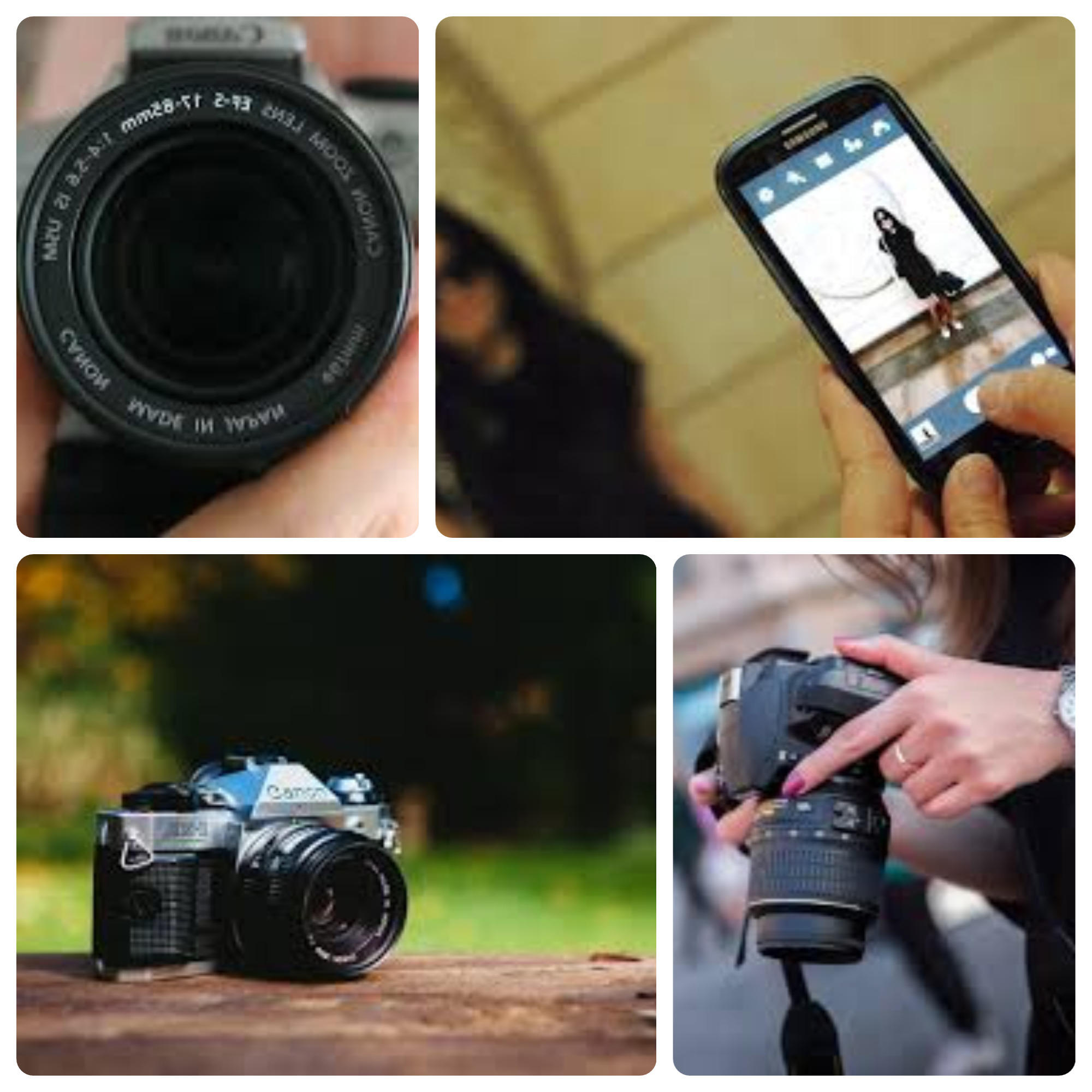 A collage of pictures of cameras