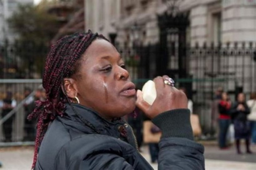 Picture of Janet Alder at a protest