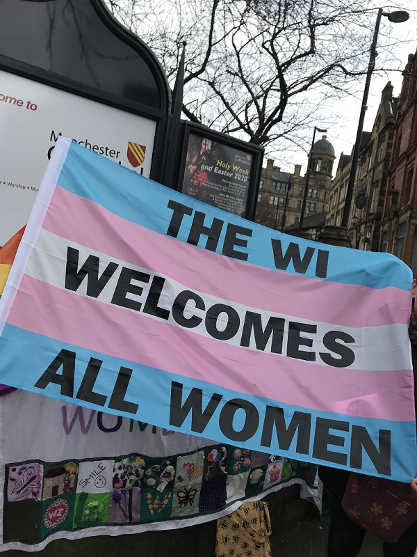 A WI banner at the Walk for Women in Manchester 2020