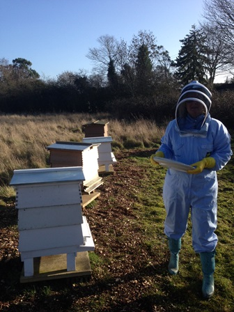 Martha with bee hives