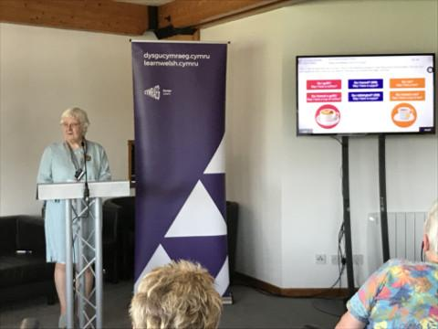 NFWI-Wales Chair Mair Stephens at the launch of the Learn Welsh course