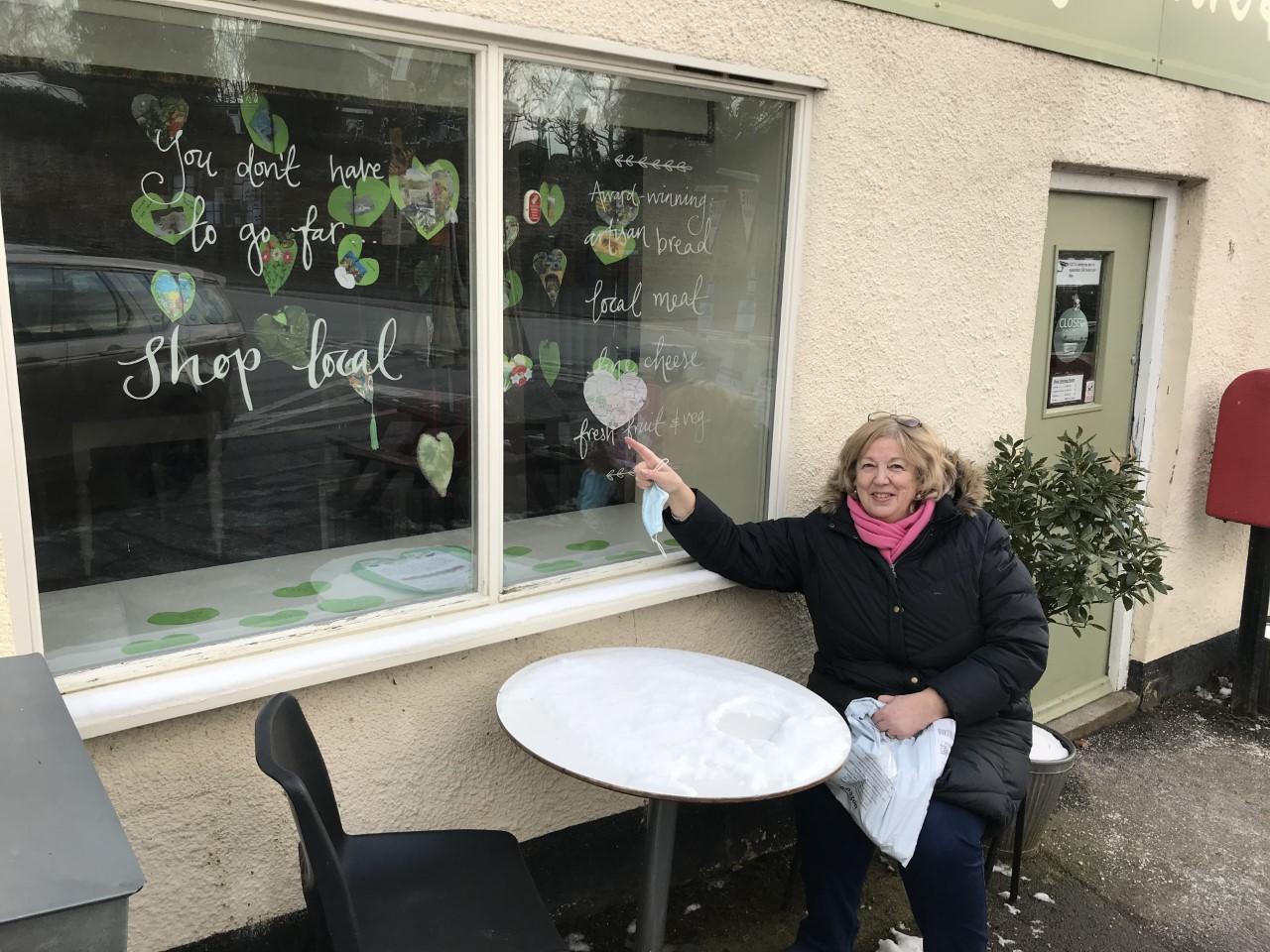Wendy outside community shop