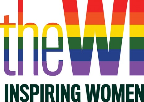 The WI logo in the colours of the Pride flag