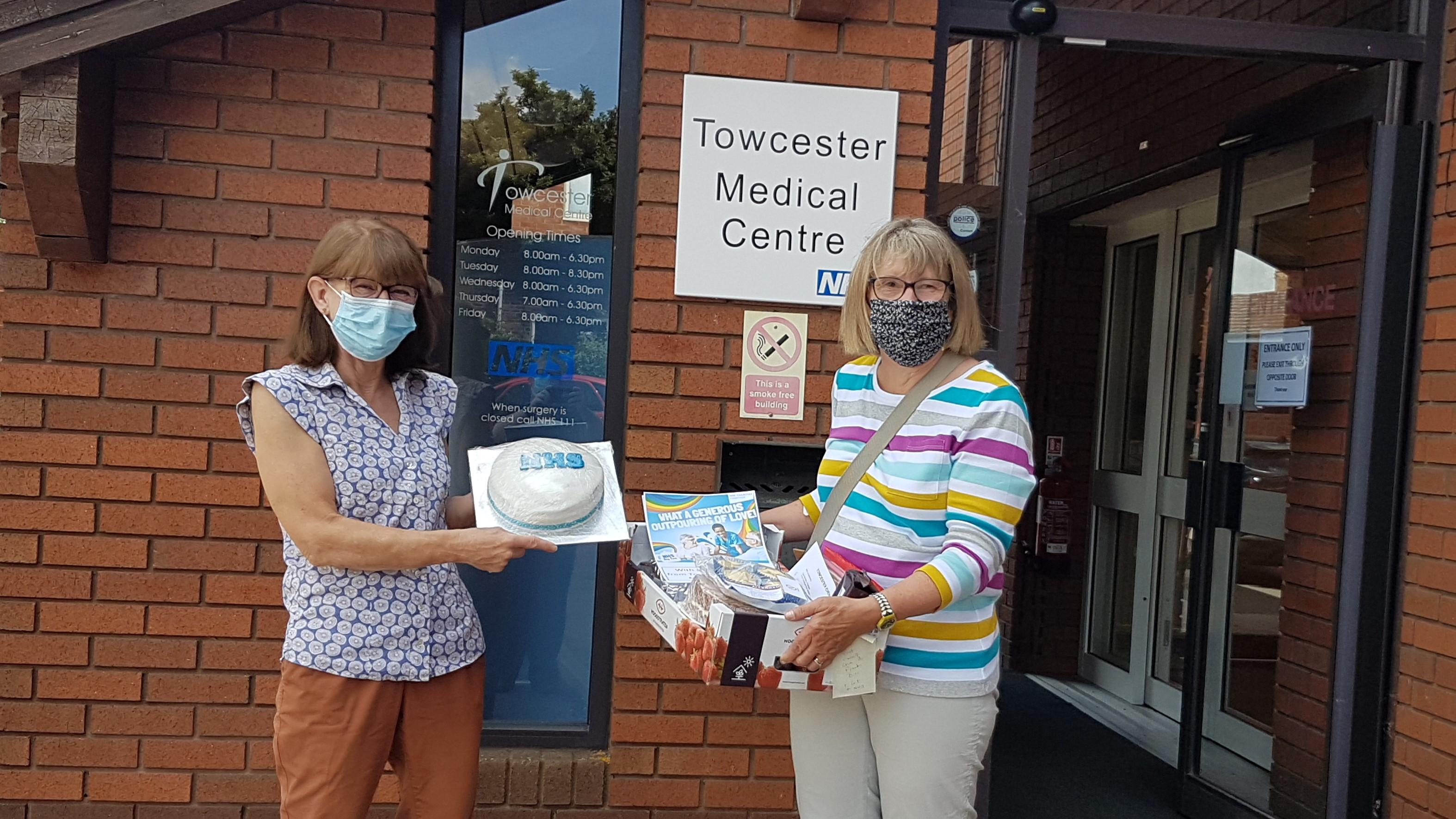 Delivering cakes outside Towcester medical centre