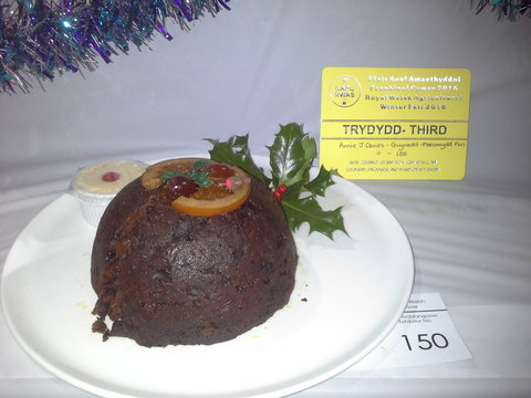 3rd prize Christmas Pudding by Annie J Davies, Gwynedd Meirionnydd