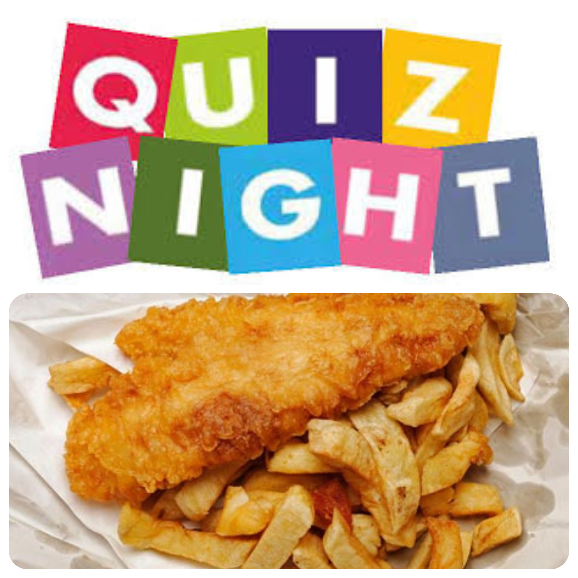 Brightly coloured letters spelling Quiz Night and a portion of fish and chips