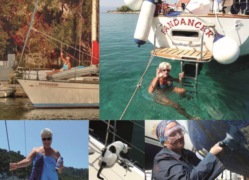 A collage of images of a WI member on a yacht