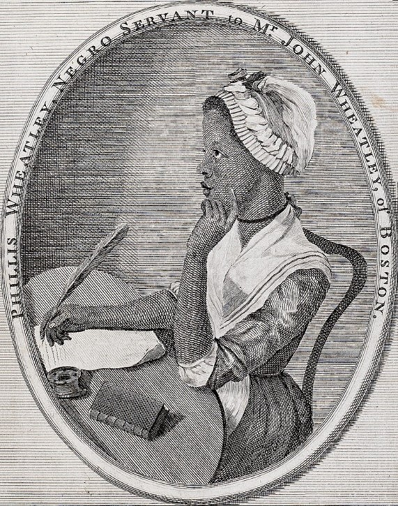 Black and white historic drawing of Phillis Wheatley sitting at a desk writing