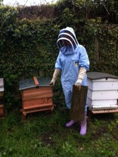 Martha with her new hive