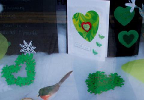 Sir Gar/Carmarthenshire Federation green hearts window display