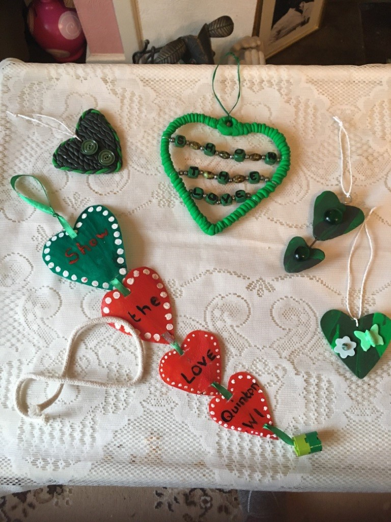 Hearts made out of plastic and clay