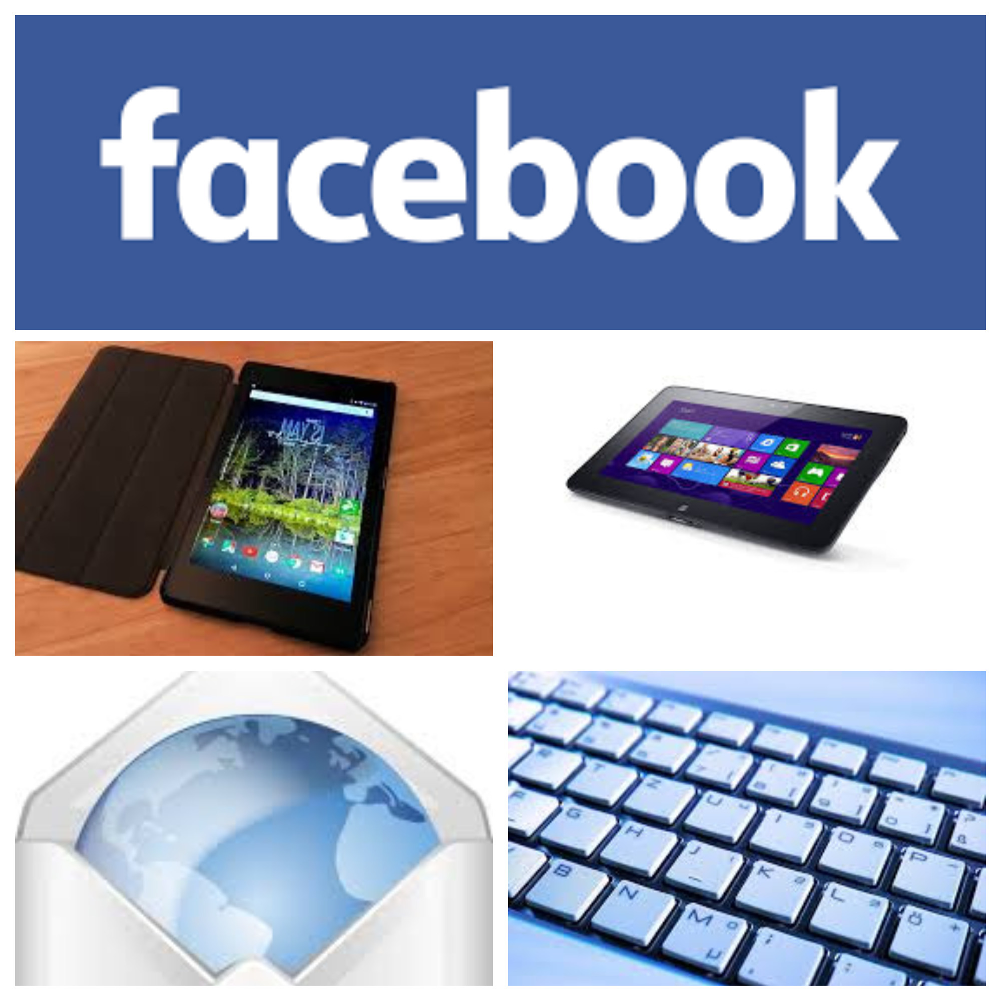 a collage of IT pictures showing a keyboard, a tablet, an email logo, a mobile phone and the facebook logo