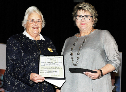 Eleanor Griffiths, Skewen WI with NFWI Vice-Chair Patricia Tulip