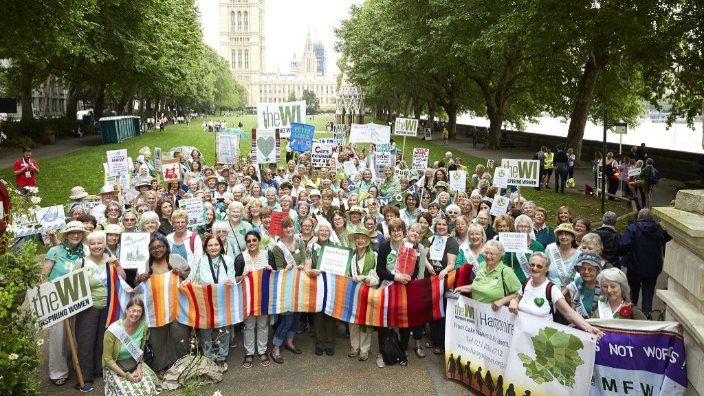 A large group of WI members holding up signs at the Time is Now Climate Change mass lobby 2019
