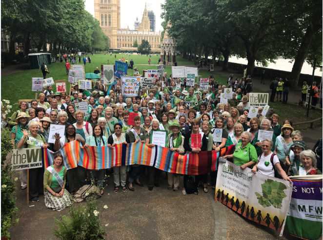 A large group of women/WI members standing together outside holding up banners/placards at the Climate Change Mass Lobby