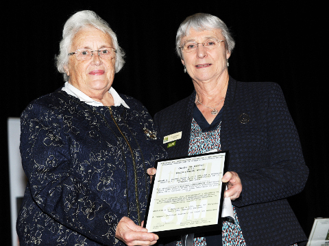 Val Robinson, Portskewett & Sudbrook WI with NFWI Vice Chair Patricia Tulip