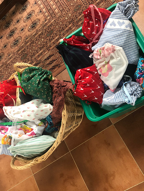 basket with bags of toiletries