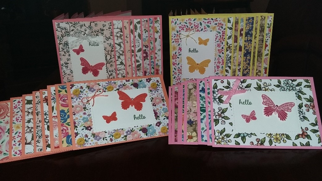 Cards decorated with butterflies and flowers