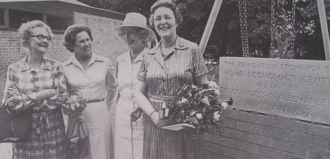 Lady Albermarle lays the foundation stone at Denman College with Lady Brunner, Patricia Batty Shaw and Gabrielle Pike