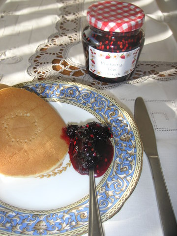 mulberry jam on plate with scone