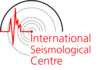 international seismological centre logo - grey circular patten with a movement graphed line