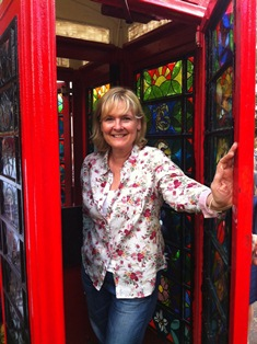 Stained glass telephone box