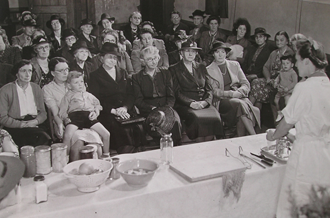 Cookery demonstration at a wartime WI meeting