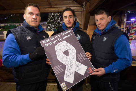 Cardiff Blues players and staff signed the Not in my Name poster