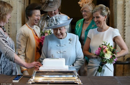 HM The Queen cutting the WI Centenary Cake
