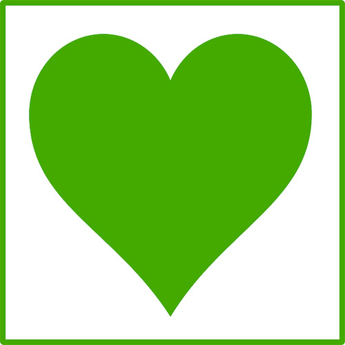 A green heart on a white background