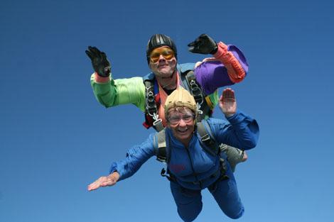 Lynda Beck, County Chairman, sky diving and raising lots of sponsorship monies