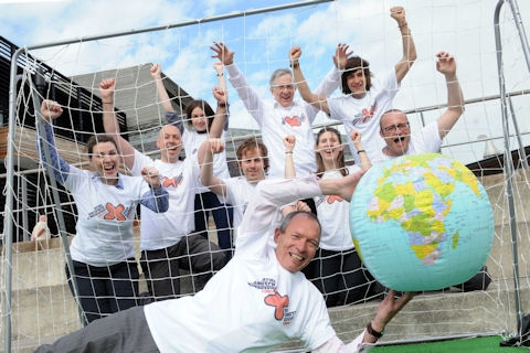Environment Minister John Griffiths AM at SCC Cymru Rio 20 football stunt