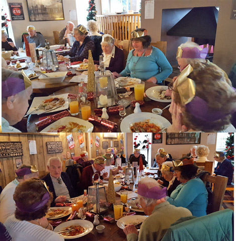 This is a lovely picture of ladies and their partners enjoying their Christmas lunch at the Halfway Inn Aylesbeare