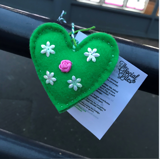 A felted green heart